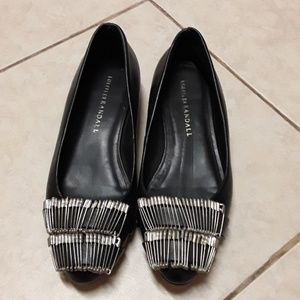 Black wedged flats